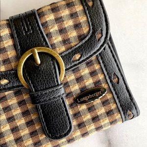 Longaberger Black & Tan Plaid Leather Trim Wallet